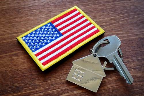 American flag patch with key house keychain