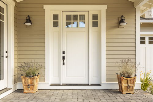 front porch and white door