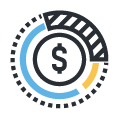 Circle design with money symbol in the middle icon